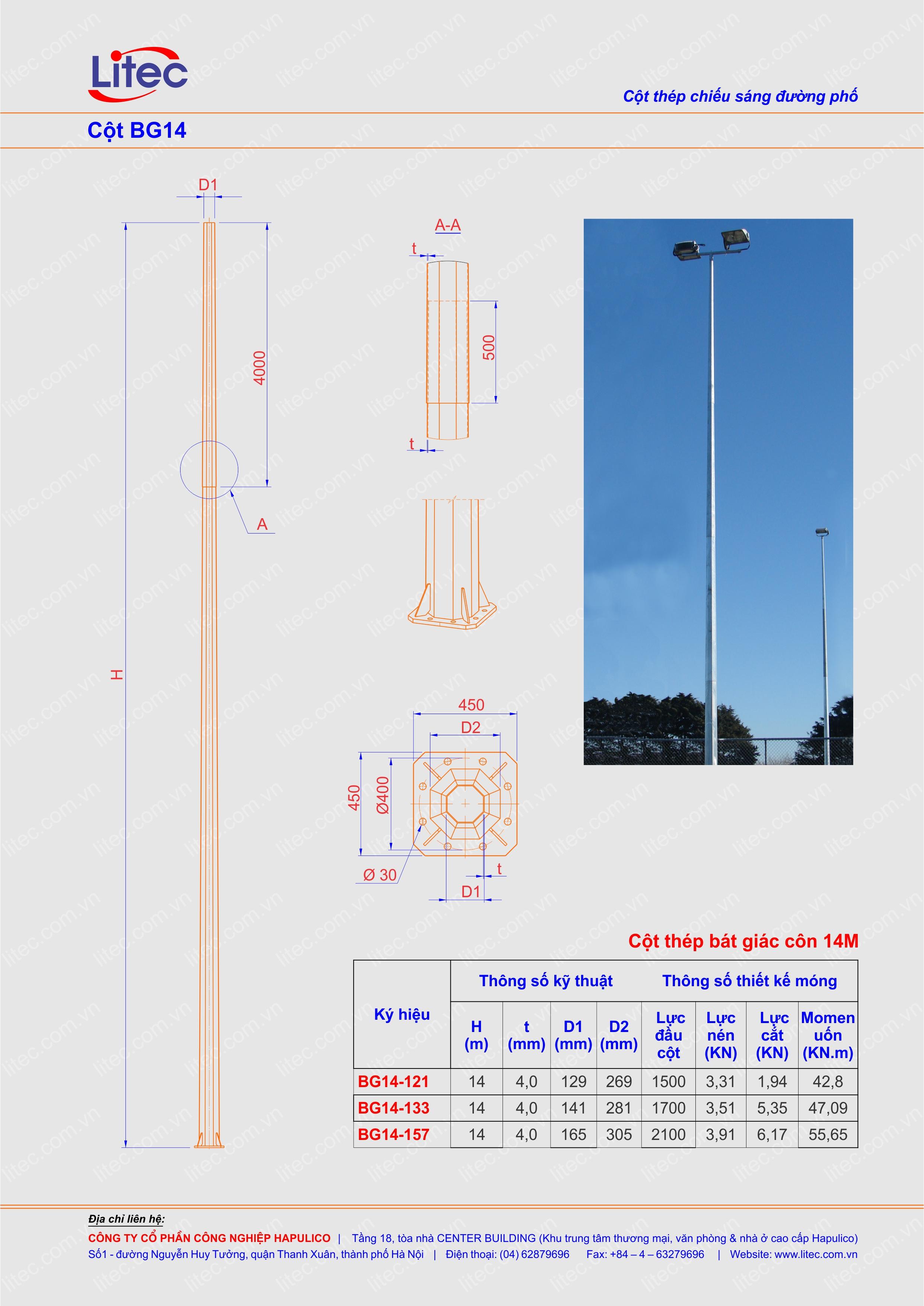Cột bát giác 14m - Cột BG14m