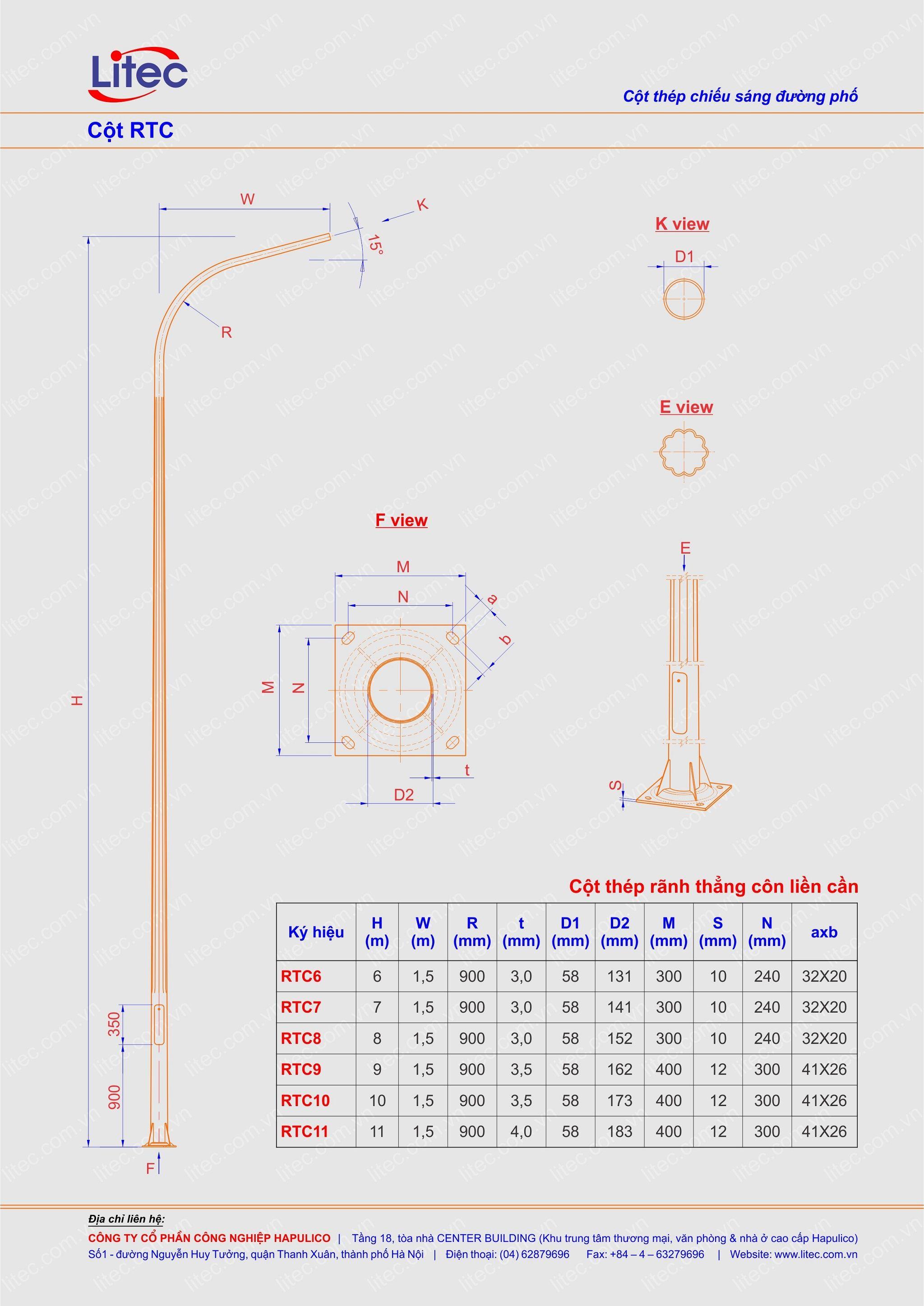 Cột đèn liền cần thân kẻ côn thẳng 6M 7M 8M 9M 10M 11M