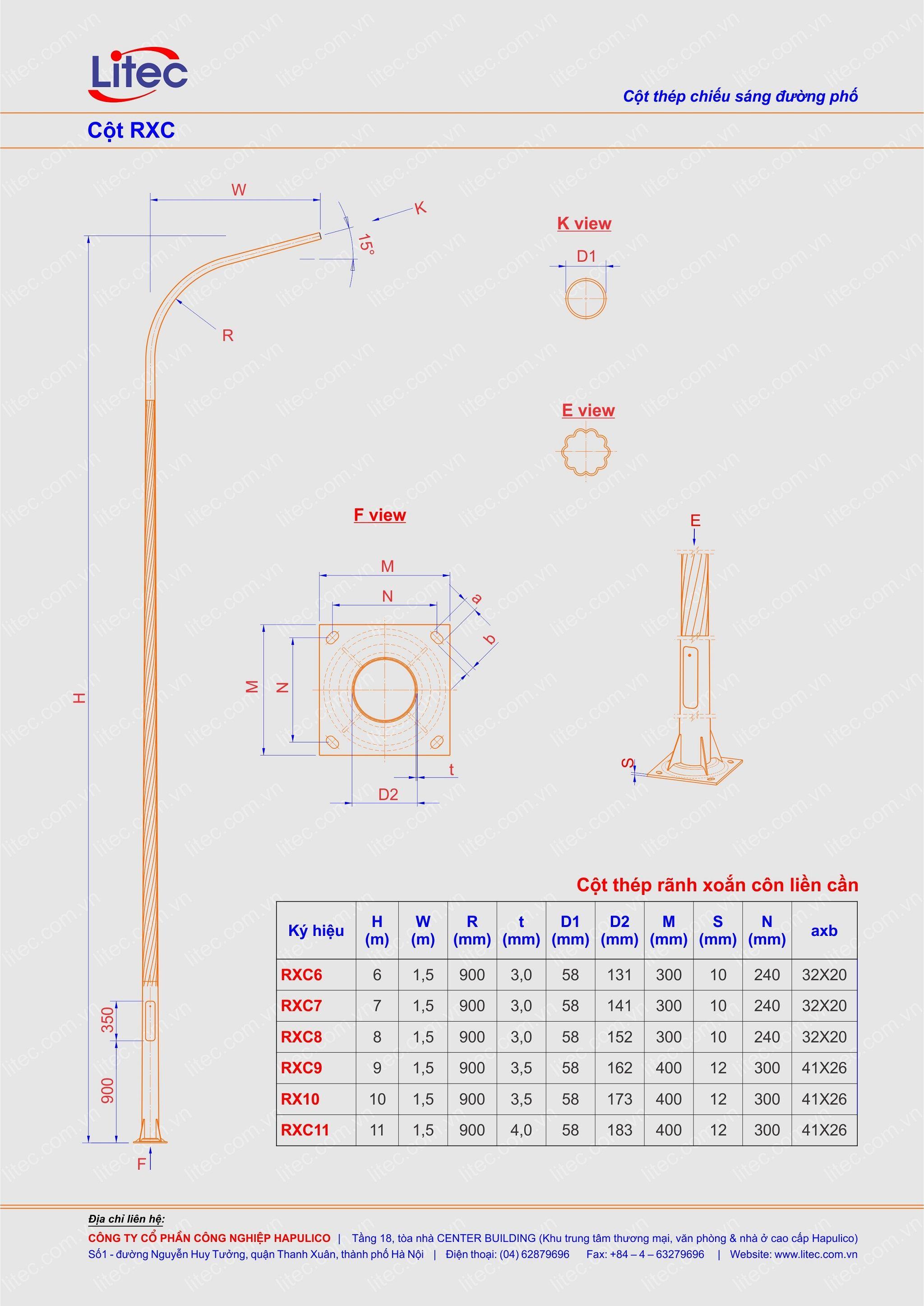 Cột đèn liền cần thân kẻ côn xoắn 6M 7M 8M 9M 10M 11M