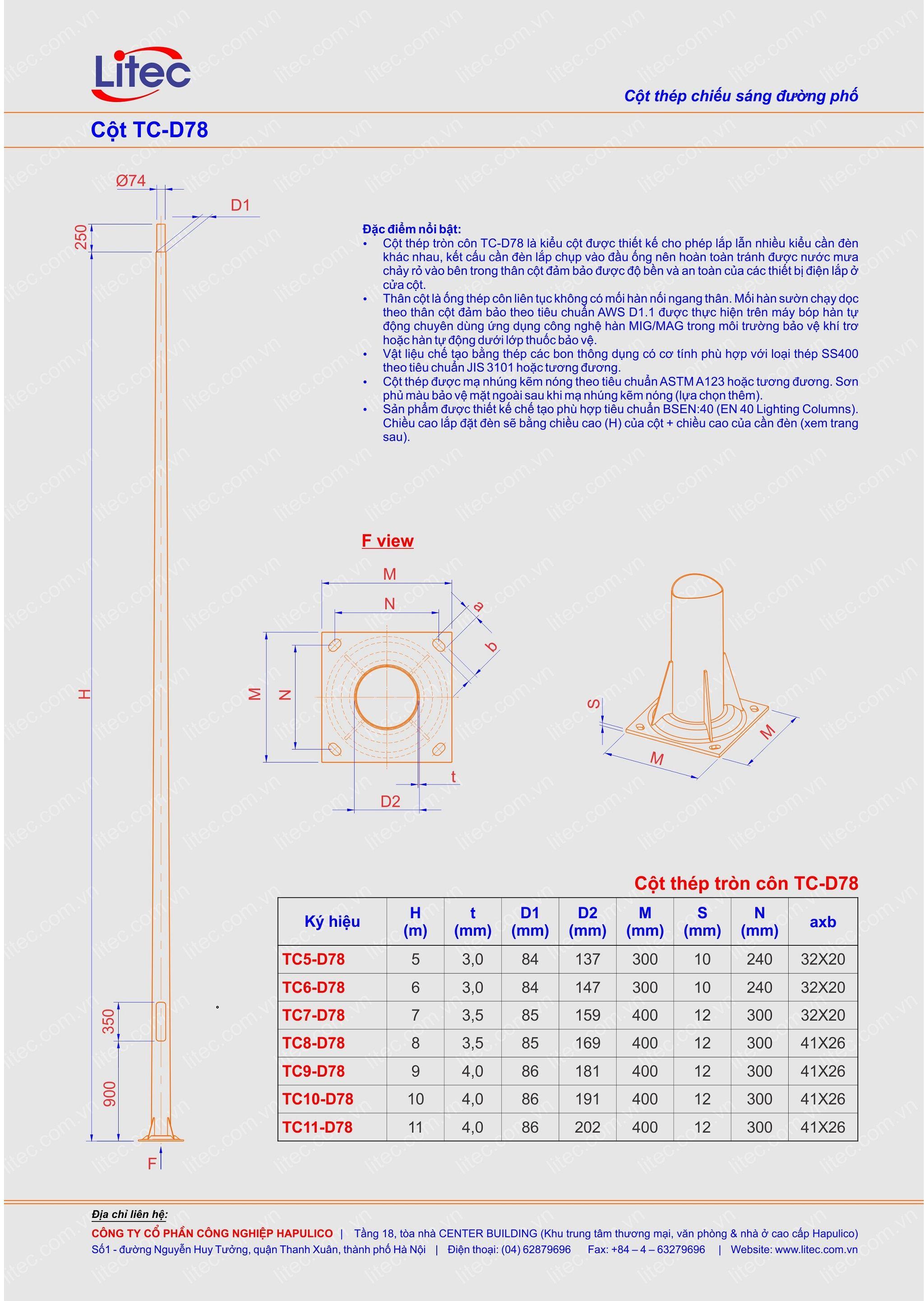 Cột đèn tròn côn rời cần TC-D78 6M 7M 8M 9M 10M 11M