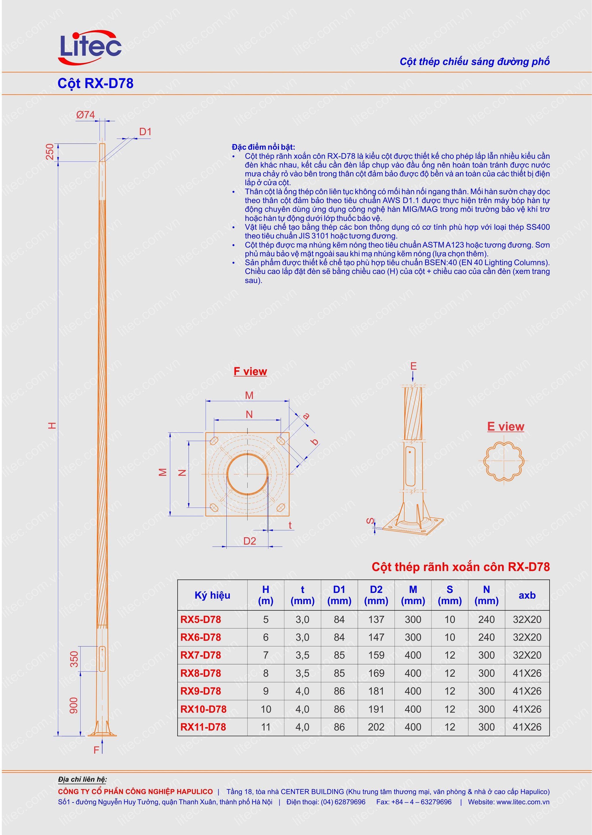 Cột đèn rời cần thân kẻ côn xoắn 6M 7M 8M 9M 10M 11M