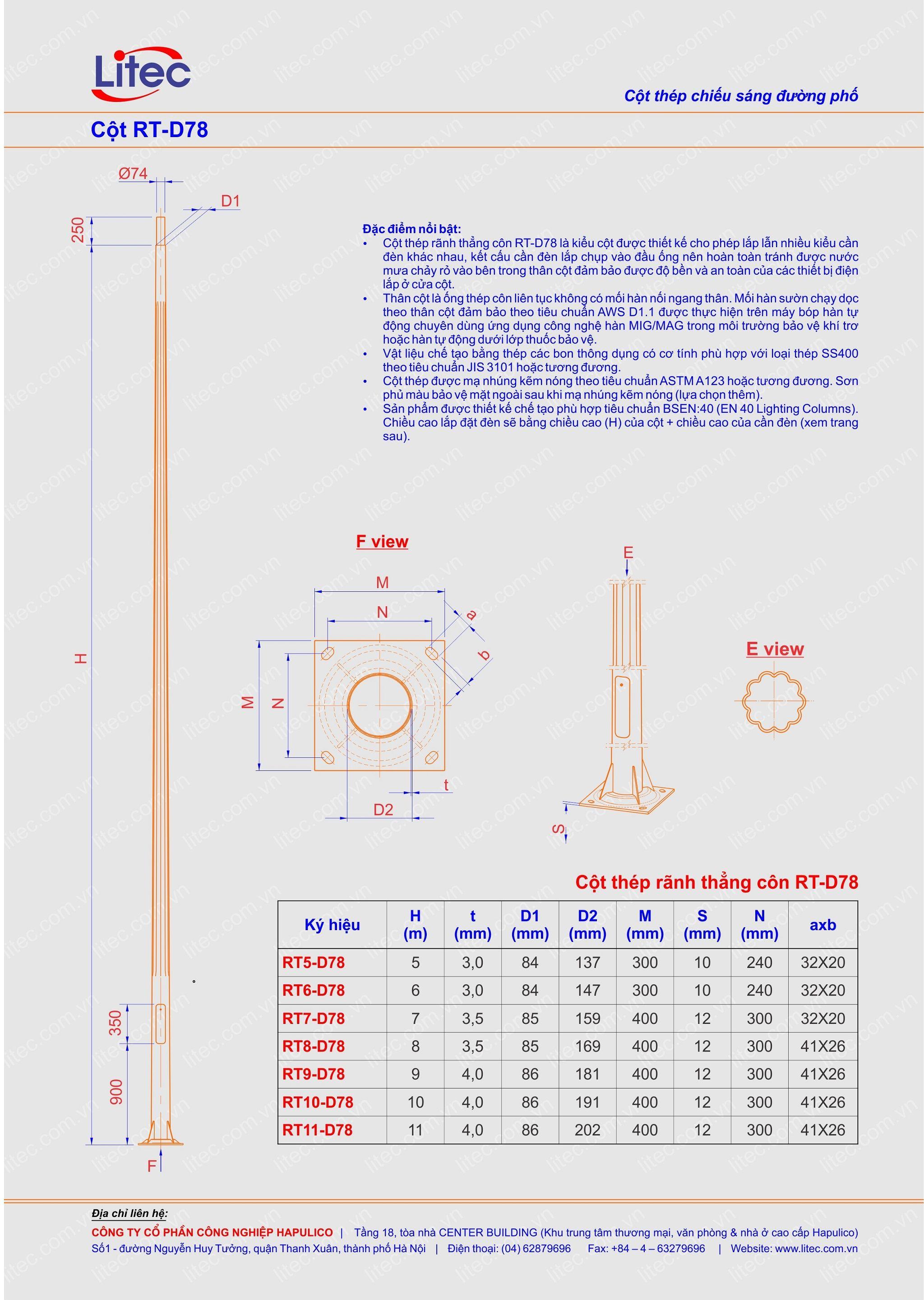 Cột đèn rời cần thân kẻ côn thẳng 6M 7M 8M 9M 10M 11M