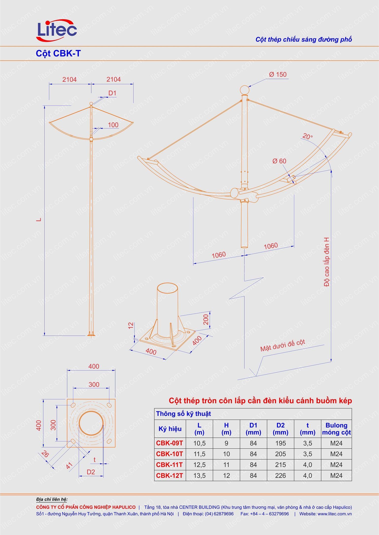 Cột đèn tròn côn lắp cần cánh buồm kép