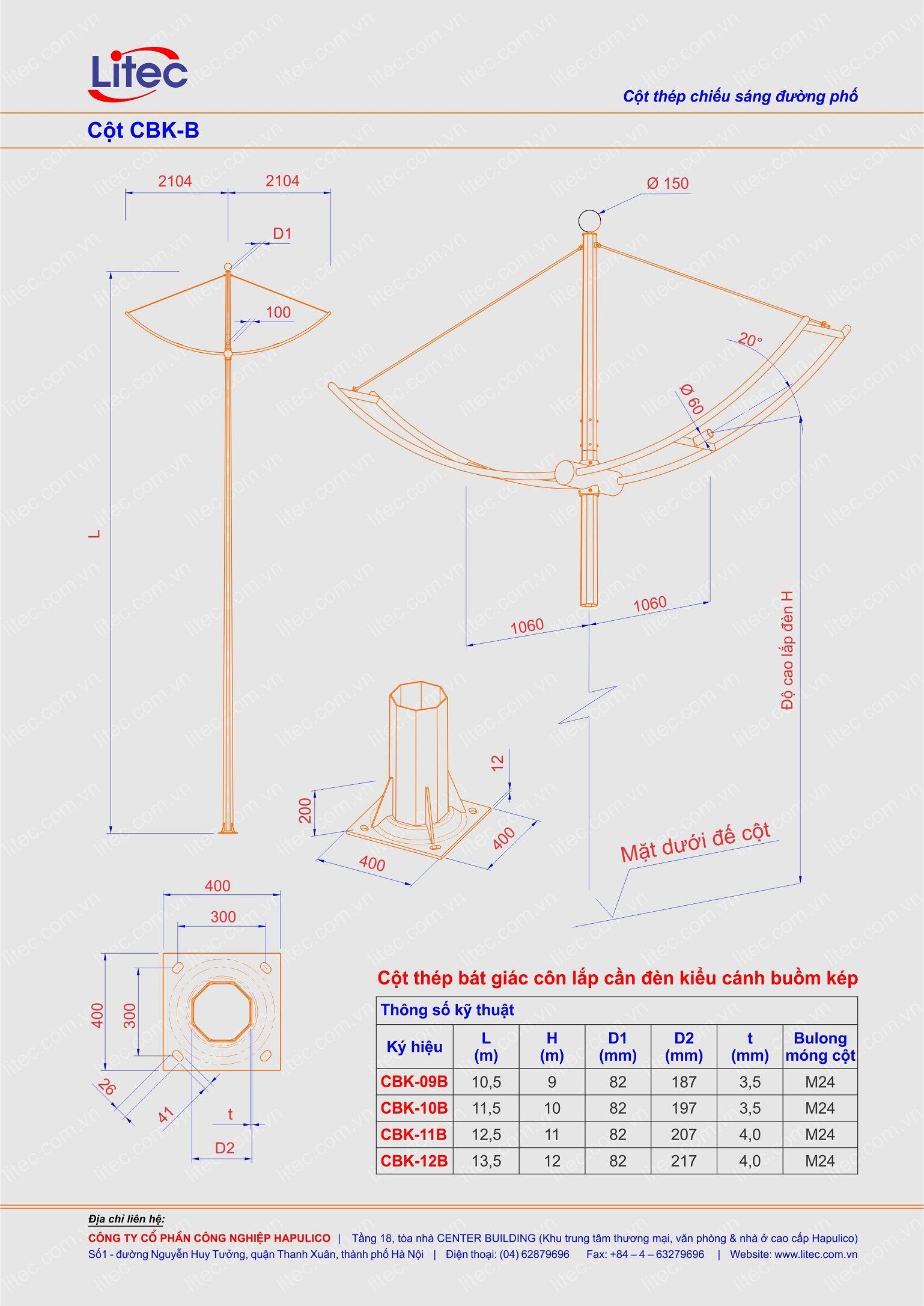 Cột đèn bát giác lắp cần cánh buồm kép